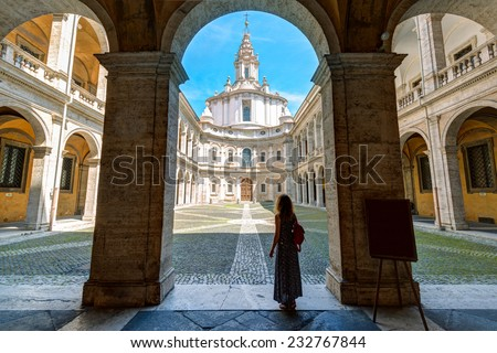 Palazzo della Sapienza with Church of Saint Yves at La Sapienza in Rome, Italy. Built in 1642-1660 by the famous architect Francesco Borromini. - stock photo