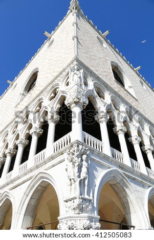 Palazzo Ducale at the corner of Piazzetta San Marco overlooking the lagoon in Venice, Italy.