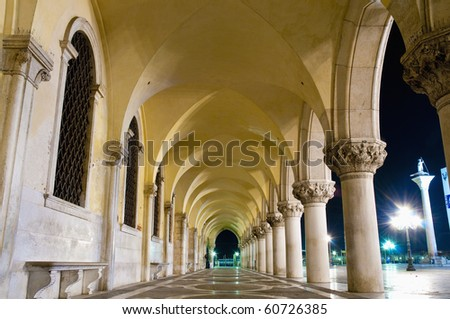 Palazzo Ducale building hallway located at Venice, Italy - stock photo