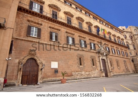 Palazzo Reale (Royal palace) renaissance side in Palermo: the seat of the regional parliament of Sicily - stock photo