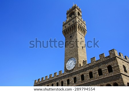 Palazzo Vecchio is the city hall in Florence - stock photo