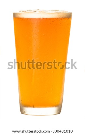 Pale ale craft beer isolated on white background - stock photo
