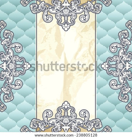 Pale blue banner with metallic ornaments (jpg); eps10 version also available - stock photo