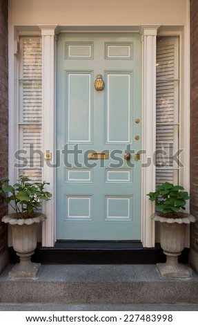 Pale Blue Front Door with White Surrounding Door Frame and Windows with Potted Plants