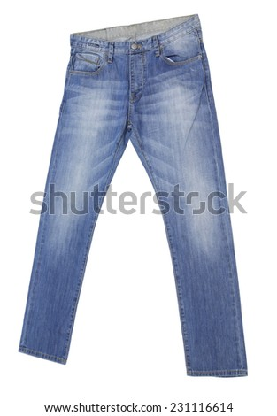 Pale Blue Jeans Isolated on white background - stock photo
