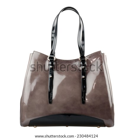 Pale brown  female bag isolated on white background. - stock photo