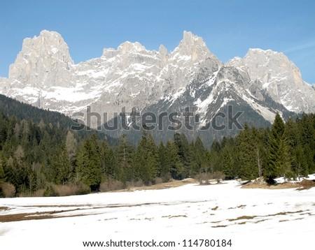 Pale di San Martino dolomites, Italy - stock photo