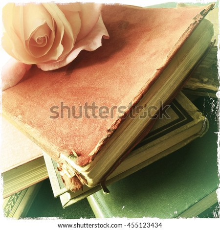 Pale flower on top of a stack of old, well-used books - stock photo