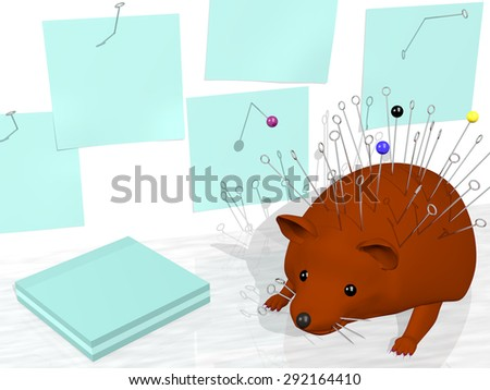Pale green paper notices tacked to a wall with pins taken from a cute voodoo doll hedgehog. Rendered 3d design. - stock photo