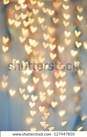 Pale Heart Bokeh on a cool background - stock photo