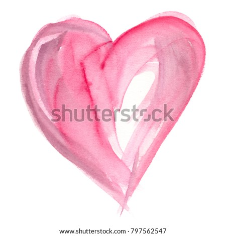 Pale pink abstract heart backdrop painted in watercolor on clean white background
