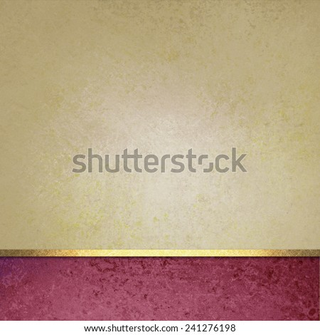 pale yellow beige background with pink footer bar and gold ribbon trim accent design, web template layout - stock photo