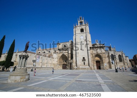 PALENCIA, SPAIN - JULY 10, 2016: Palencia Cathedral (Catedral de san Antolin), popularly known as the unknown beauty, in Palencia, a city in Castile and Leon, northwest Spain