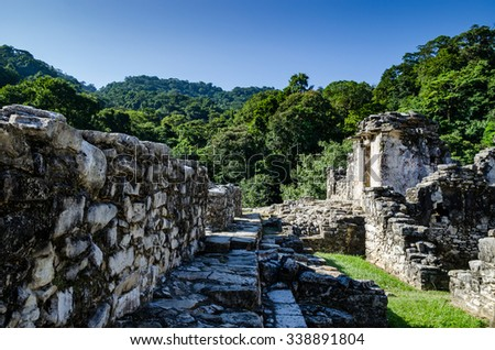 Palenque ruins in Mexico - stock photo