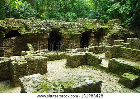 Palenque ruins in tropical rainforest - stock photo