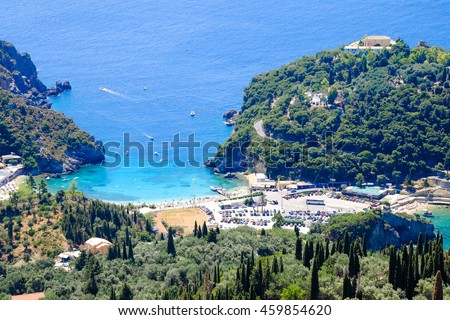 Paleokastritsa beach and bay view from above. Important tourist attraction in Corfu island - stock photo