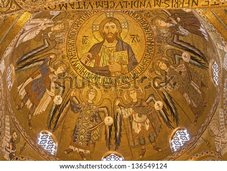 PALERMO - APRIL 8: Mosaic from cupola of Cappella Palatina - Palatine Chapel in Norman palace in style of Byzantine architecture from years 1132 - 1170 on April 8, 2013 in Palermo, Italy.