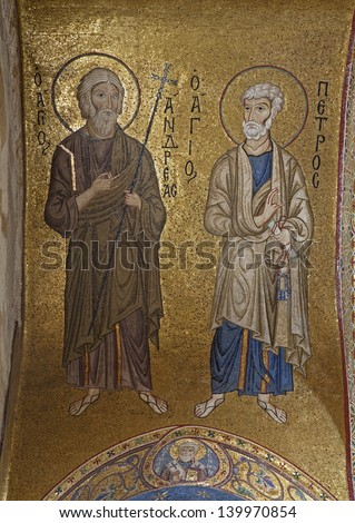 PALERMO - APRIL 8: Mosaic of apostle Peter and Andrew from in Church of Santa Maria dell' Ammiraglio or La Martorana from 12. cent. on April 8, 2013 in Palermo, Italy.