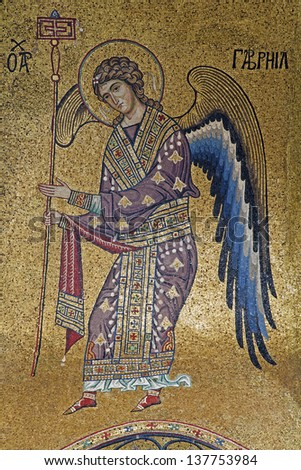 PALERMO - APRIL 8: Mosaic of Archangel Gabriel from Church of Santa Maria dell' Ammiraglio or La Martorana from 12. cent. on April 8, 2013 in Palermo, Italy. - stock photo