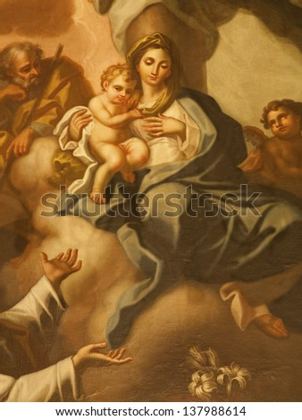 PALERMO - APRIL 9: Paint of Madonna with child from church Santa Maria la Nuova on April 9, 2013 in Palermo, Italy.