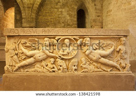 PALERMO - APRIL 8: Relief from medieval tomb in chapel under cathedral on April 8, 2013 in Palermo, Italy.