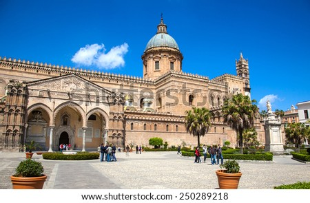 PALERMO, ITALY - APRIL 2, 2010: Palermo Cathedral on April 2, 2010 in Palermo, Italy. This historic cathedral is a landmark in Sicily of Italy. - stock photo