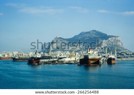 PALERMO, ITALY - CIRCA 1979: Vintage view of the city and port of Palermo in Sicily, historical image scanned from film