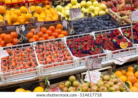 PALERMO, ITALY - JANUARY 05: Different kinds fruit for sale at a market in Palermo, Sicily on January 05, 2015