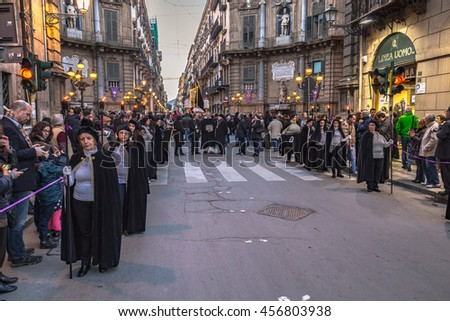 PALERMO, ITALY - MARCH 25 2016: Easter Celebration in the City of Palermo on Sicily in Europe. Good Friday Procession through the historical old town.