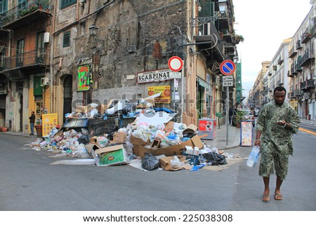 PALERMO, ITALY, March 23, 2010: Emergency trash in the South of Italy