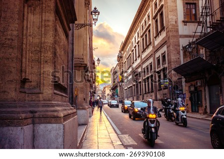 PALERMO, ITALY - MARCH 14, 2015: Famous Vittorio Emanuele street at sunset in Palermo, Italy