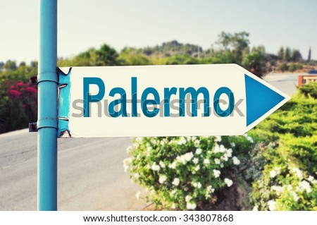 Palermo Road Sign with beautiful nature and road on background - stock photo