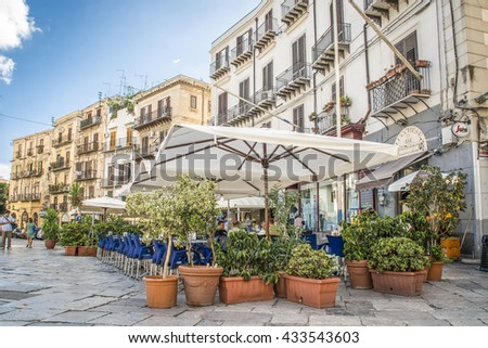 PALERMO, SICILY, ITALY, EU -  SEPTEMBER 19, 2013: Square with terraces in the old city