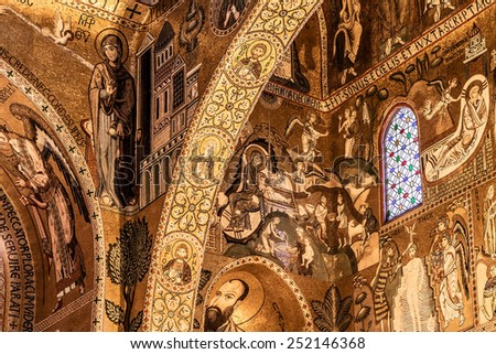 PALERMO, SICILY/ITALY - JUNE 27 2013: Interior Shot of the famous Cappella Palatina in Sicily on June 27 2013 in the Palazzo Reale in Palermo in Sicily, Italy