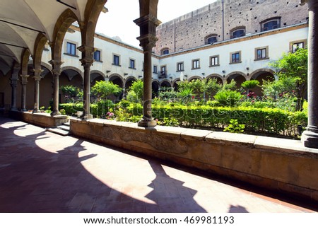 PALERMO, SICILY, Juny 6, 2016: Cloister of St. Augustin church in Palermo
