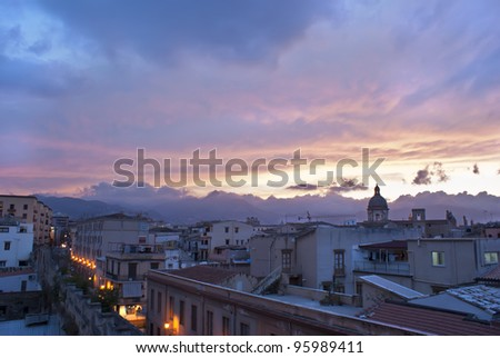 Palermo view at sunsetwhit roof and historical buildings.Sicily - stock photo