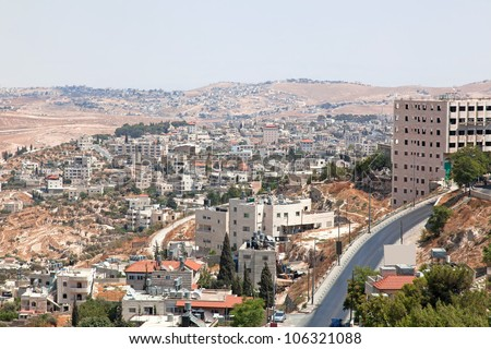 Palestin. A panorama of the city of Bethlehem from height - stock photo