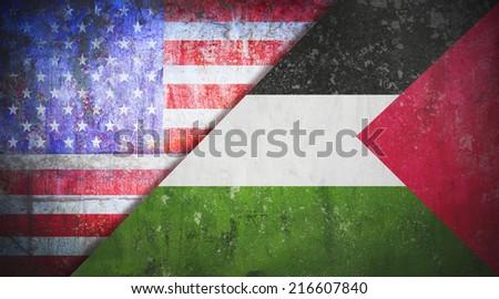 Palestine confrontation United States America concept War flag grunge vintage retro style - stock photo