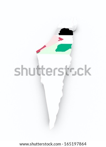 palestine flag on 3d map - stock photo