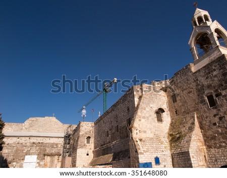 Palestine. The city of Bethlehem. Renovated Church of the Nativity of Jesus Christ - stock photo