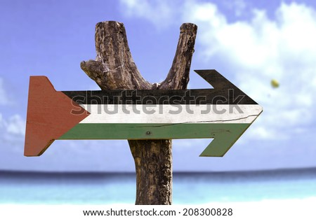 Palestine wooden sign with river on background  - stock photo