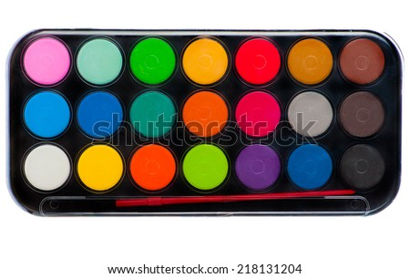 Palette and Brush - stock photo