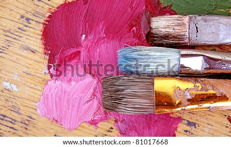 Palette and brushes - stock photo