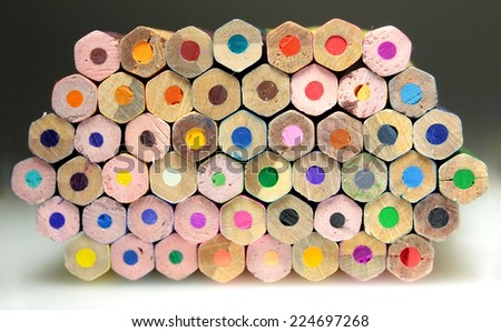 Palette of colored pencils