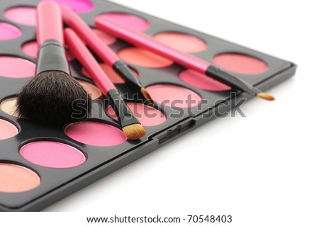 Palette of colorful blushes and brushes on white background. - stock photo
