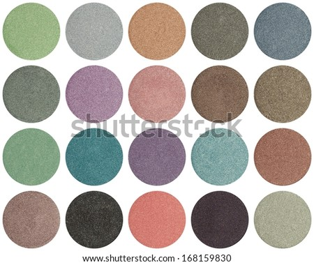 Palette of colorful eye shadows isolated on white - stock photo