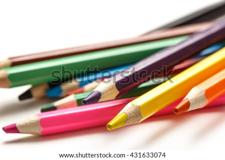 Palette of colorful pencils for children closeup