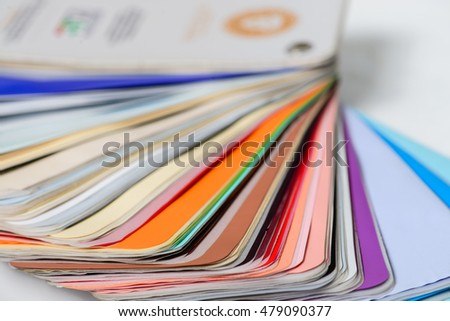 palette of colors designs for interior works, shallow depth of field, macro