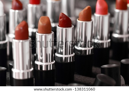 Palette of lipsticks (close up) - stock photo