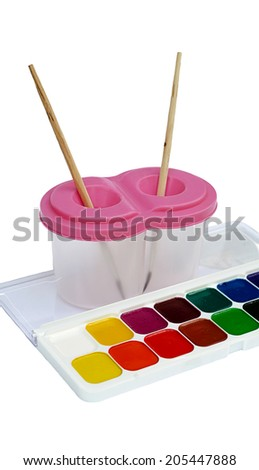palette of paints for children the isolated - stock photo